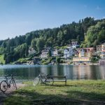 Bicycles by Lake Millstatt in Seeboden, Carinthia, Austria.
