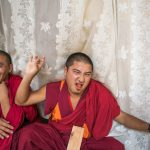 Monks hamming it up at the Punakha Dzong.