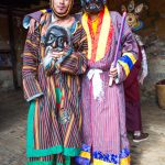 The clowns who provide entertainment to the crowds at Bhutanese festivals.
