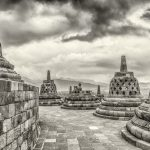 Buddha Stupas at Borobudur, Indonesia.