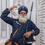 Sikh warrior (Nihang) at the Golden Temple