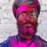 Sikh with Holi gulal powders