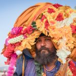 Nihang with big floral turban