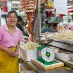 Friendly tofu  seller, Ghim Moh market