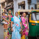 Women with colourful saris in Ahmedabad, Gujarat