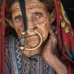 Elderly Gujarati grandmother with large Nose Ring, Jaat Tribe