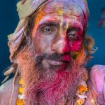 Portrait of a stoned Sadhu, Holi festival in Nandgaon, Uttar Pradesh, India.