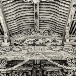 Detail of the ancient carved ceiling of the Togakushi Shrine