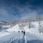 Start of the Snow shoe trek up Mount Hanatate-Yama