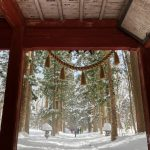 Entrance doors to the Cedar forest of Togakushi