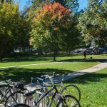 Bicycles on the grounds of Middlebury College, Vermont, USA.