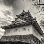 Kitsuki Castle, Oita Prefecture, on a wet grey day