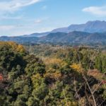 Stitched pano of the Autumn foliage at Oka-jo with the Kunisaki mountain range in the background