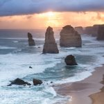 Sunset along the Great Ocean Road with remainders of the 12 Apostles