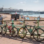 Bicycles along Brighton Pier, England