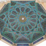 Beautiful mosaiced ceiling at the Tomb of Hafez in Shiraz