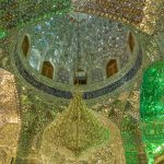 Opulent ceiling of the Holy Shrine of Shah-e-Cheragh in Shiraz, Iran.