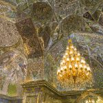Opulent ceiling of the Holy Shrine of Shah-e-Cheragh in Shiraz, Iran.