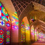 Morning light streaming through the beautiful stained glass panels at the Nasir-ol-Molk (Pink Mosque) in Shiraz.