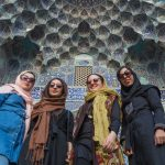 University students visiting a mosque at Isfahan