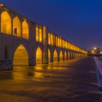 Blue hour at the Bridge of 36 Arches in Isfahan, Iran.