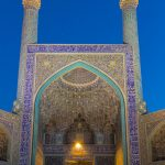 Blue hour at the Shah Lotfollah Mosque  in the Naghsh-e-Jahan Square in Isfahan, Iran