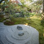 Japanese Zen rock garden at Oubai-in Temple in Kyoto