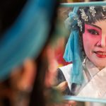Backstage Make-up Preparations. Lao Sai Tao Yuan Teochew Opera troupe.