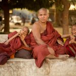 Father and his sons at the Ananda Temple courtyard, Bagan