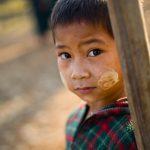 Shy Burmese School child.