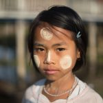 Burmese Schoolgirl with thanaka powder