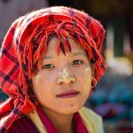 Burmese villager at a local market in Inle Lake