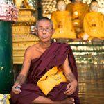 Monk at Shwedagon Pagoda in Yangon