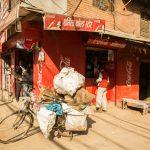 A bicycle in a side street in Kathmandu, Nepal.