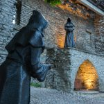 Larger than life sized statues of hooded monks up on Toompea Hill.