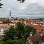 Views of Tallinn's Old Town and the harbour with the big cruise ships