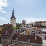 Aerial view of Tallinn, Estonia, from the top of the Town Hall tower.