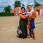 A couple dressed up in traditional Latvian costume at Rundale Palace