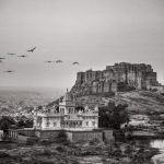Mehrangarh Fort with the Jaswant Thada Mausoleum in the foreground. Jodhpur, India