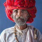 Portrait of a holy man with a red turban in Rawla Jojowar