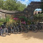Bicycles parked outside La Seigneurie Gardens in Sark, Channel Islands