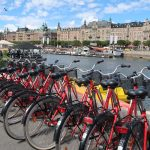 Rental bicycles in the Djurgardsvagen area in Stockholm, Sweden