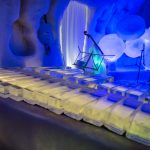 Musical instruments carved from ice, at the Ice Music Concert Hall in Lulea