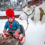 Young Sami boy and Reindeer, Jokkmokk