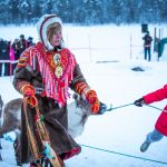 A  Sami lady at the reindeer races, the highlight of the Jokkmokk Winter Market festivities