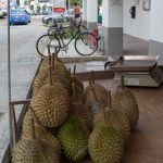 Durians and bicycles in Tiong Bahru, the oldest public housing development in Singapore