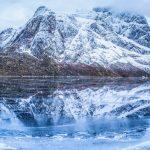 Frozen Ice Lakes in Lofoten, Norway