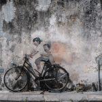 Children on a Bicycle, street art mural. Georgetown, Penang.