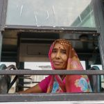 Woman on a bus in Mandawa, Rajasthan.