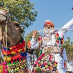 The oldest contestant in the Mr Bikaner Contest, part of the annual Bikaner Camel Festival, brandishes the sharp edge of a sword between his teeth